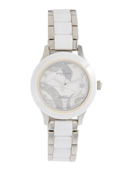 Christina Design London Analog Swiss Watch for Women with Ceramic Band, Water Resistance, with 1 Diamond and 10 Sapphire Crystals, 308SW, White/Silver-White