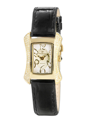 Christina Design London Analog Swiss Watch for Women with Leather Band, Water Resistant, with 116 Diamonds on Case and Sapphire Crystal 1 Black Diamond on Crown, 140-2GWBL, Black-White