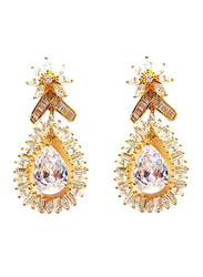 Amishi London Gold Plated Stainless Steel Studded Drop Earrings for Women, with Crystal Stone, Gold