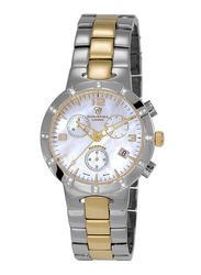 Christina Design London Analog Swiss Watch for Women and Stainless Steel Band, Water Resistant and Chronograph, with Mother of Pearl and 24 Diamonds, 124BW, Silver/Gold-White