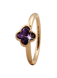 Christina Design London Gold Plated Sterling Silver Flower Shape Fashion Ring for Women with Amethyst Stone, Gold, EU 59