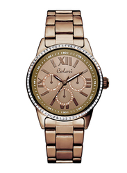 Colori Analog Watch for Women with Stainless Steel Band, Water Resistant and Chronograph, 5-COL, Brown
