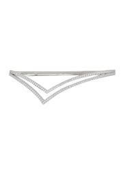 Apm Monaco 925 Sterling Silver Designed Bangle for Women with Zirconia Stone, Silver