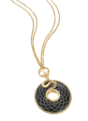 Just Cavalli Amazonia Stainless Steel Necklace for Womenwith Snake Pattern Pendant and Black Onyx Stone, Gold