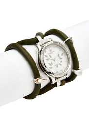 Christina Design London Assemble Collect Analog Swiss Watch for Women with Attached Italian Leather Cord with Genuine Gemstone Charms Band, Water Resistant, 305 SWBL, Olive-White