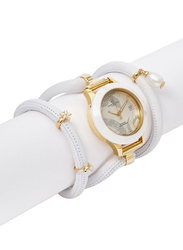 Christina Design London Assemble Collect Analog Swiss Watch for Women with Attached Italian Leather Cord with Genuine Gemstone Charms Band, Water Resistant, 308 GWW, White