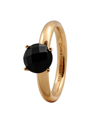Christina Design London Gold Plated Sterling Silver Fashion Ring for Women with Fountain Onyx Stone, Gold, EU 55