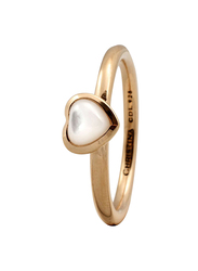Christina Design London Gold Plated Sterling Silver Heart Shape Fashion Ring for Women with Pearl Stone, Gold, EU 49