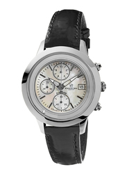 Christina Design London Analog Swiss Watch for Women with Leather Strap, Water Resistant and Chronograph, with 1 Diamond and Mother of Pearl Dial, 304SWBL, Black-White