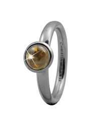 Christina Design London Sterling Silver Round Shape Fashion Ring for Women with Citrine Stone, Silver, EU 49