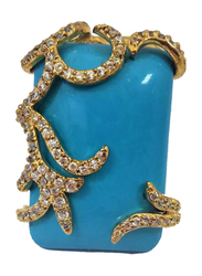 Amishi London Gold Plated Stainless Steel Fashion Ring for Women, with Turquoise Blue and Cubic Zirconia Stones, Gold, EU 55