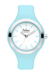 Colori Analog Watch for Women with Silicone Band, Water Resistant, 5-COL, Blue-White