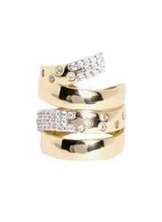 Apm Monaco 925 Sterling Silver Fashion Ring for Women with Cubic Zirconia Stone, Gold, EU 54