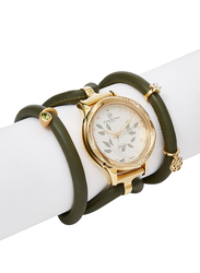 Christina Design London Assemble Collect Analog Swiss Watch for Women with Attached Italian Leather Cord with Genuine Gemstone Charms Band, Water Resistant, 305 GWBL, Olive Peridot-White