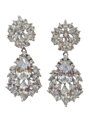 Amishi London Silver Plated Stainless Steel Studded Drop Earrings for Women, with Crystal Stone, Silver