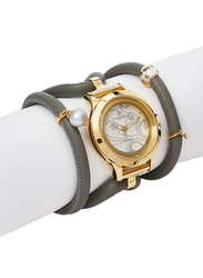 Christina Design London Assemble Collect Analog Swiss Watch for Women with Attached Italian Leather Cord with Genuine Gemstone Charms Band, Water Resistant, 309 GWBL, Grey-White