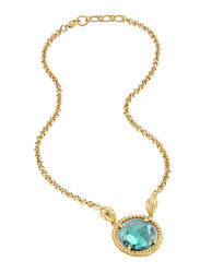 Just Cavalli Just Queen Stainless Steel Necklace for Womenwith Circular Blue Multifaceted Stone Pendant, Gold