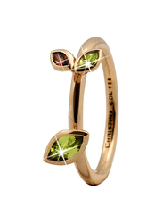 Christina Design London Gold Plated Sterling Silver Marquise Leaf Shape Fashion Ring for Women with Peridot Stone, Gold, EU 53