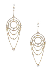 Apm Monaco 925 Sterling Silver Gold Plated Drop & Dangle Earrings for Women with Zirconia Stone, Gold