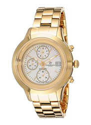 Christina Design London Analog Swiss Watch for Women with Yellow Gold Plated Stainless Steel Band, Water Resistance and Chronograph, with 1 Diamond and Mother of Pearl Dial, 304GW, Gold-White