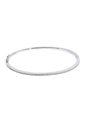 Apm Monaco 925 Sterling Silver Bangle for Women with Zirconia Stone, Clasp, Silver