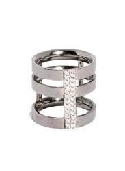 Apm Monaco 925 Sterling Silver Three Line Midi Ring for Women with Cubic Zirconia Stone, Silver, EU 44