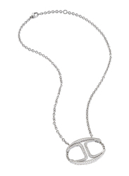 Just Cavalli Just Street Stainless Steel Necklace for Womenwith C-Shaped Stone-Studded Pendant, Silver
