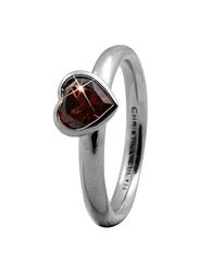Christina Design London Sterling Silver Big Heart Shape Fashion Ring for Women with Garnet Stone, Silver, EU 51