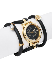 Christina Design London Assemble Collect Analog Swiss Watch for Women with Attached Italian Leather Cord with Genuine Gemstone Charms Band, Water Resistant, 305 GBLBL, Black Pearl