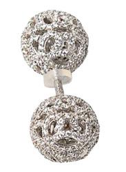 Apm Monaco 925 Sterling Silver Barbells Earrings for Women with Zirconia Stone, Silver