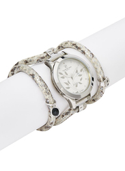 Christina Design London Assemble Collect Analog Swiss Watch for Women with Attached Italian Leather Cord with Genuine Gemstone Charms Band, Water Resistant, 305 SWBL, Off White-White