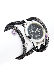 Christina Design London Assemble Collect Analog Swiss Watch for Women with Attached Italian Leather Cord with Genuine Gemstone Charms Band, Water Resistant, 305 SBLBL, Black