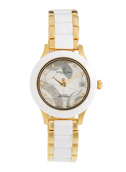 Christina Design London Analog Swiss Watch for Women with Ceramic Band, Water Resistance, with 1 Diamond and 10 Sapphire Crystals, 308GW, White/Gold-White
