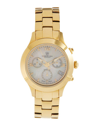 Christina Design London Analog Swiss Watch for Women with Yellow Gold Plated Stainless Steel Band, Water Resistance and Chronograph, with 1 Diamond and Mother of Pearl Dial, 302GW, Gold-White