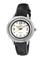Christina Design London Analog Swiss Watch for Women with Leather Strap, Water Resistant and 1 Diamond, 303SWBL, Black-White