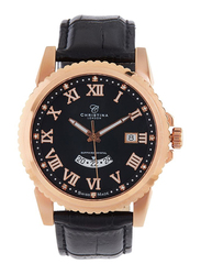 Christina Design London Analog Swiss Watch for Men with Leather Strap, Water Resistant and Sapphire Crystal 11 Diamonds, 513RBLBL, Black