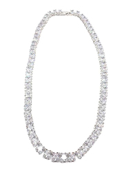Amishi London Silver Plated Stainless Steel Studded Chain Necklace for Women, with Cubic Zirconia Stone, White