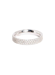 Apm Monaco 925 Sterling Silver Paved Phalanx Midi Ring for Women with Cubic Zirconia Stone, Silver, EU 44