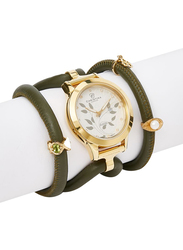 Christina Design London Assemble Collect Analog Swiss Watch for Women with Attached Italian Leather Cord with Genuine Gemstone Charms Band, Water Resistant, 305 GWBL, Olive Pearl-White