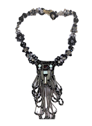 Amishi London Stainless Steel Studded Statement Necklace for Women, with Black & Gunmetal Crystal Stones, Black