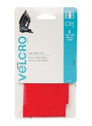 Velcro 6-Piece One-Wrap Straps, 11 x 0.5 inch, Red