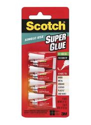 3M Scotch Single-Use Super Glue Gel, 4 Tubes x 2gm, Clear