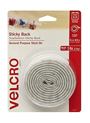 Velcro Sticky Back Hook and Loop Fasteners, 5-Feet, White