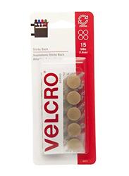 Velcro Sticky Back Hook & Loop Fasteners, 15-Piece, Beige