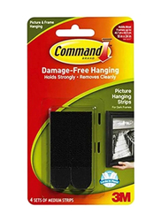 3M Command Picture Hanging Strips, 4 Pair, Black