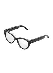 Fauna Levia Full Rim Cat Eye Black Audio Sunglasses for Women with Speakers, Clear Lens, 53/12/151