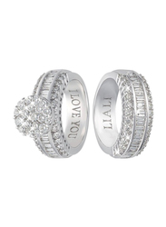 Liali Jewellery Love Band 18K White Gold Couple Ring with 116 Diamond, Silver, US 7
