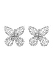 Liali Jewellery Red Carpet Butterfly 18K White Gold Stud Earrings for Women with 128 Diamond, Silver