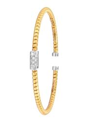 Liali Jewellery Tessitore 18K Yellow Gold Bangle for Women with 10 Diamond, Gold