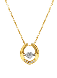 Liali Jewellery 18K Yellow Gold Dancing Diamond Pendant for Women, 0.5 Carat Look, Gold